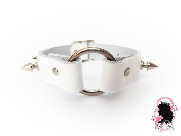 White Studded Leather O Ring Wristband